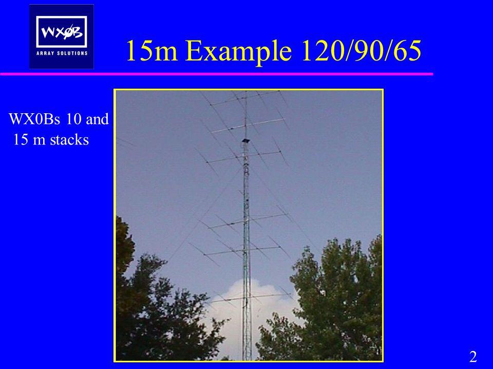50 X Y 34 feet Spacing is.75 WL between driven elements Horizontal Stacking