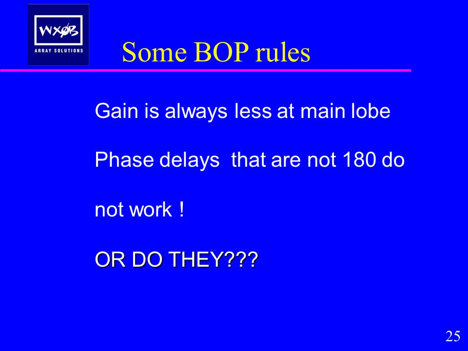 Some BOP rules Gain is always less at main lobe Phase delays that are not 180 do not work .