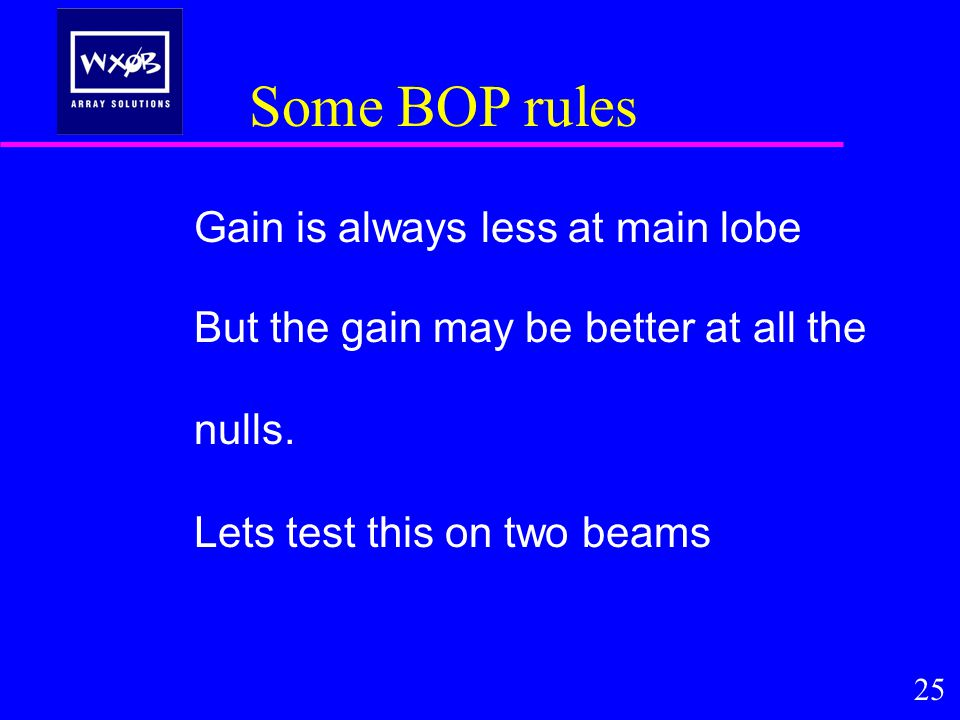 Some BOP rules Gain is always less at main lobe But the gain may be better at all the nulls.