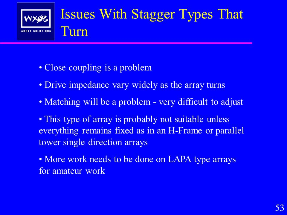 Issues With Stagger Types That Turn 53 Close coupling is a problem Drive impedance vary widely as the array turns Matching will be a problem - very difficult to adjust This type of array is probably not suitable unless everything remains fixed as in an H-Frame or parallel tower single direction arrays More work needs to be done on LAPA type arrays for amateur work