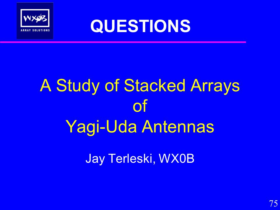 A Study of Stacked Arrays of Yagi-Uda Antennas Jay Terleski, WX0B 75 QUESTIONS