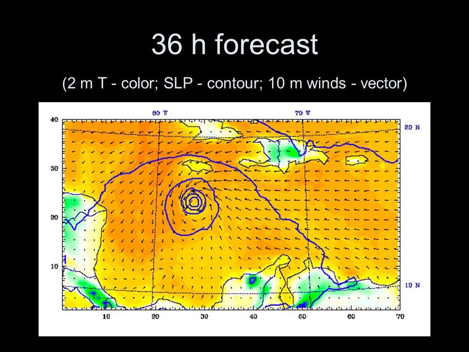 36 h forecast (2 m T - color; SLP - contour; 10 m winds - vector)