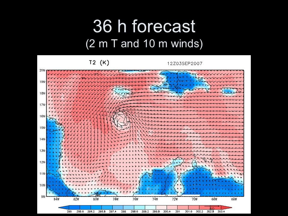 36 h forecast (2 m T and 10 m winds)
