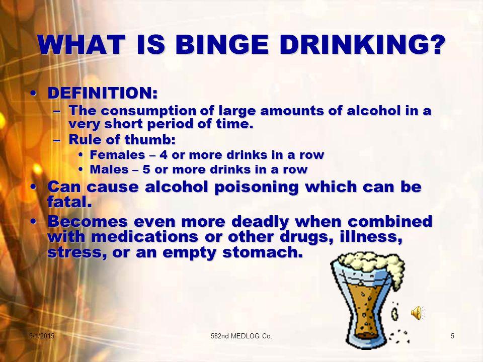 5/1/2015582nd MEDLOG Co.5 WHAT IS BINGE DRINKING.