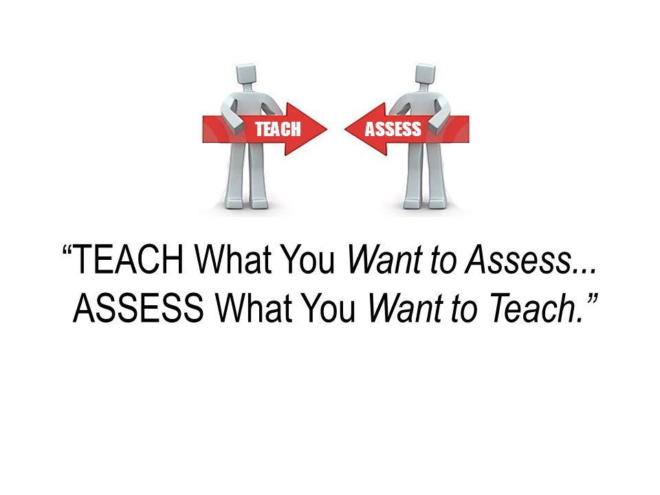 """TEACH What You Want to Assess... ASSESS What You Want to Teach."" TEACHASSESS"