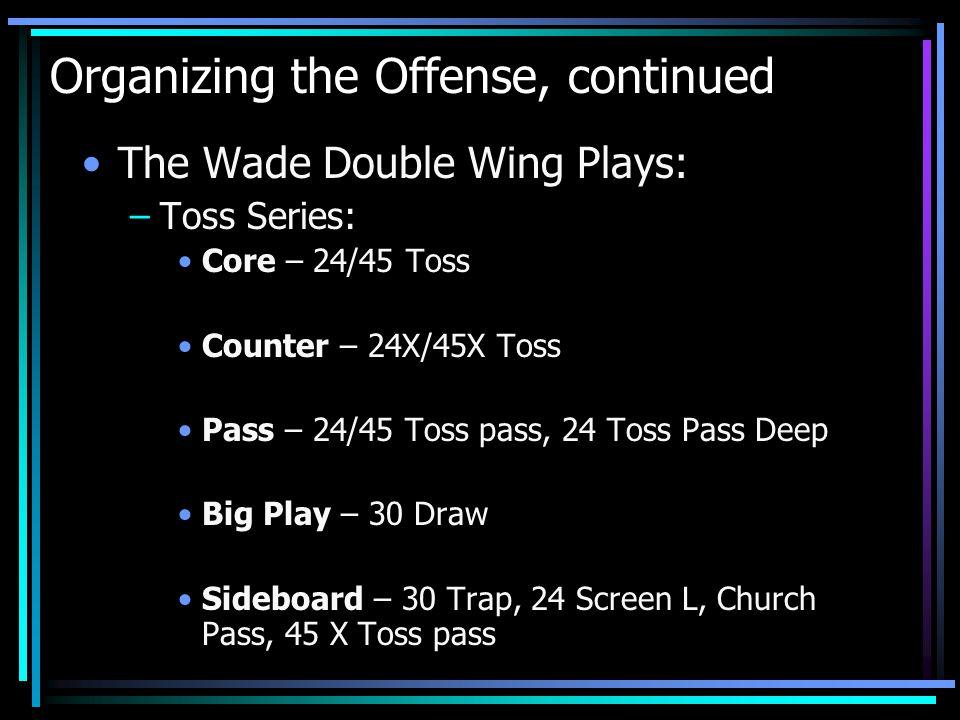 Organizing the Offense, continued The Wade Double Wing Plays: –Toss Series: Core – 24/45 Toss Counter – 24X/45X Toss Pass – 24/45 Toss pass, 24 Toss P