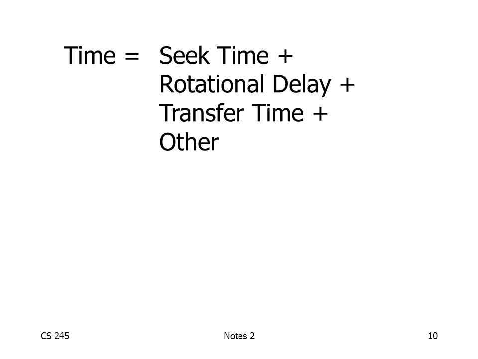 CS 245Notes 210 Time = Seek Time + Rotational Delay + Transfer Time + Other