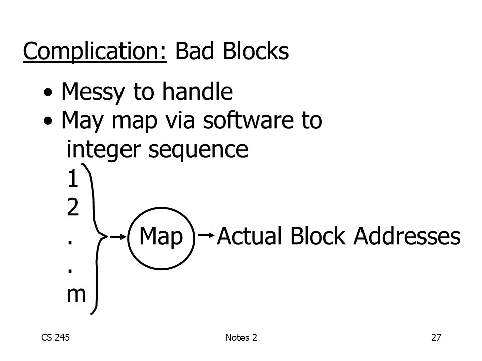 CS 245Notes 227 Complication: Bad Blocks Messy to handle May map via software to integer sequence 1 2.Map Actual Block Addresses.