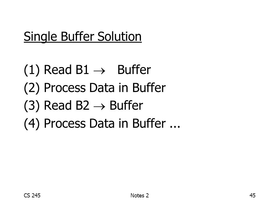 CS 245Notes 245 Single Buffer Solution (1) Read B1  Buffer (2) Process Data in Buffer (3) Read B2  Buffer (4) Process Data in Buffer...