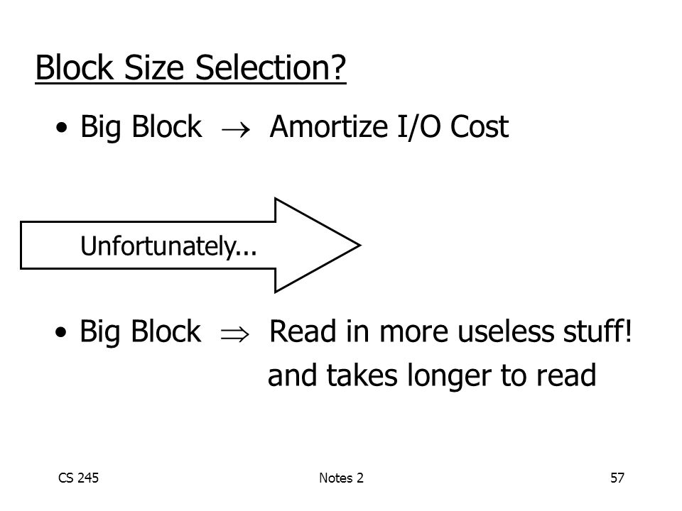 CS 245Notes 257 Block Size Selection.