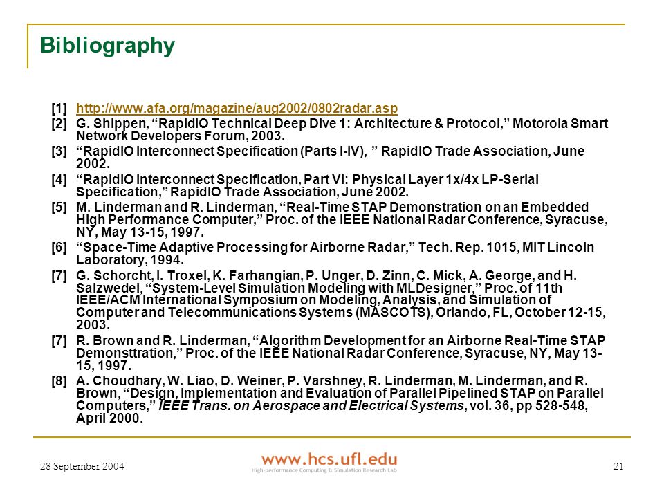 28 September 200421 Bibliography [1]http://www.afa.org/magazine/aug2002/0802radar.asphttp://www.afa.org/magazine/aug2002/0802radar.asp [2]G.