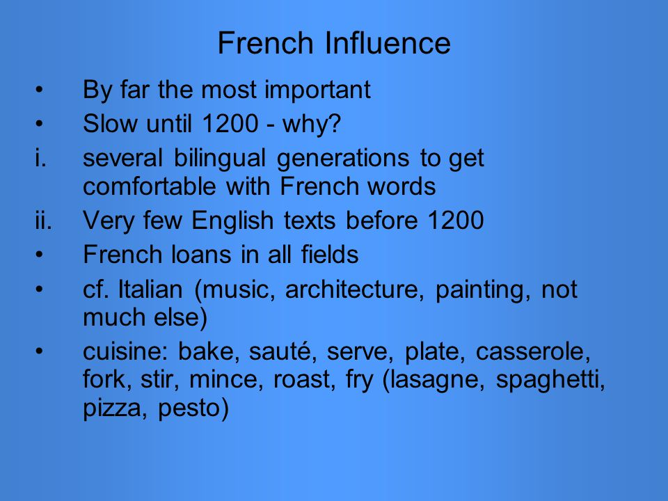 French Influence By far the most important Slow until 1200 - why.