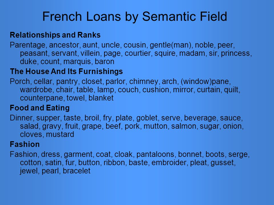 French Loans by Semantic Field Relationships and Ranks Parentage, ancestor, aunt, uncle, cousin, gentle(man), noble, peer, peasant, servant, villein,