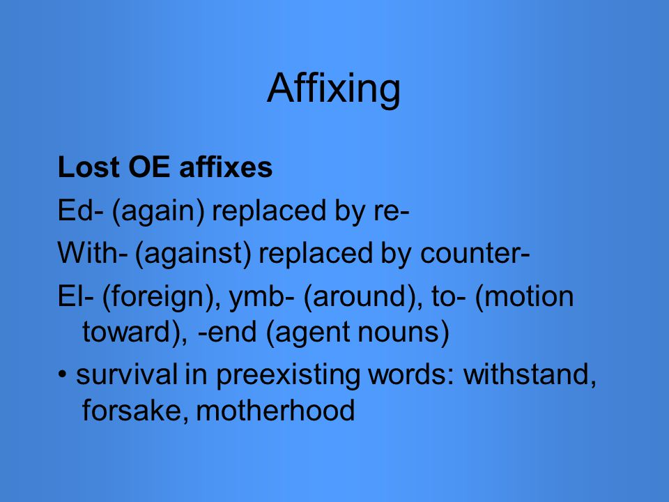 Affixing Lost OE affixes Ed- (again) replaced by re- With- (against) replaced by counter- El- (foreign), ymb- (around), to- (motion toward), -end (age