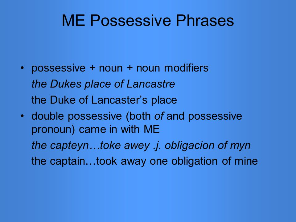 ME Possessive Phrases possessive + noun + noun modifiers the Dukes place of Lancastre the Duke of Lancaster's place double possessive (both of and possessive pronoun) came in with ME the capteyn…toke awey.j.
