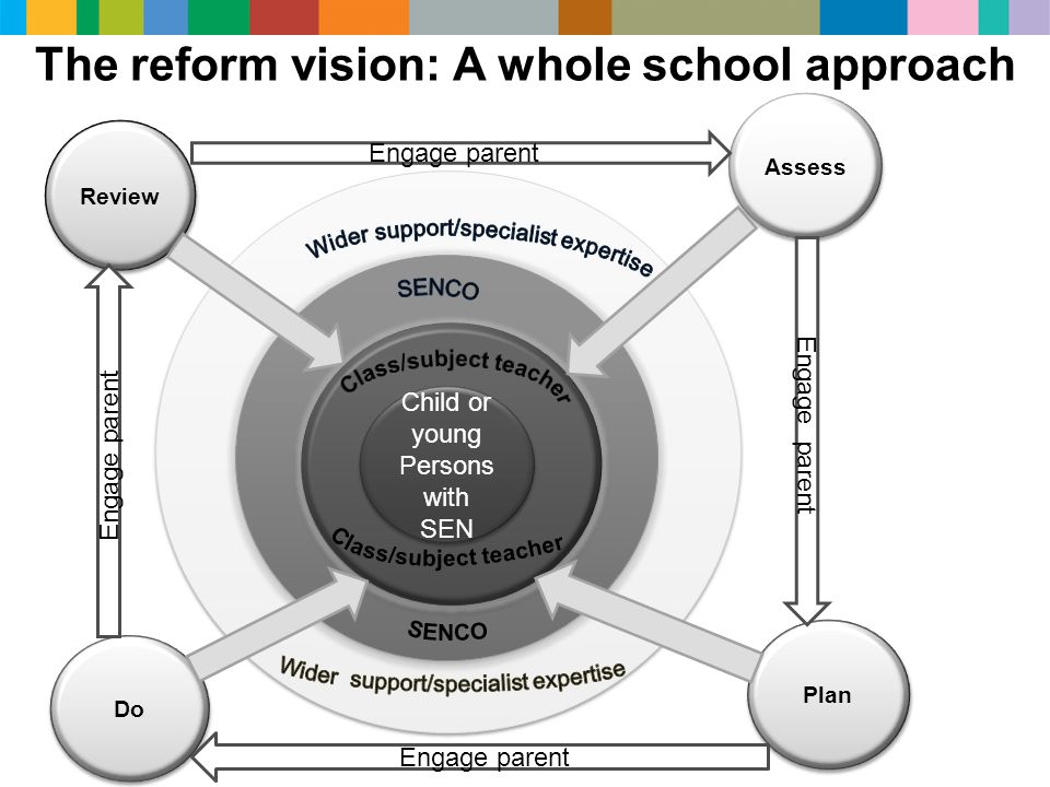 External support e e c c Child or young Persons with SEN Review Assess Do Plan The reform vision: A whole school approach Engage parent