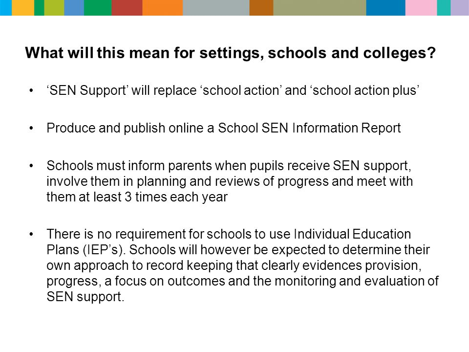 What will this mean for settings, schools and colleges? 'SEN Support' will replace 'school action' and 'school action plus' Produce and publish online
