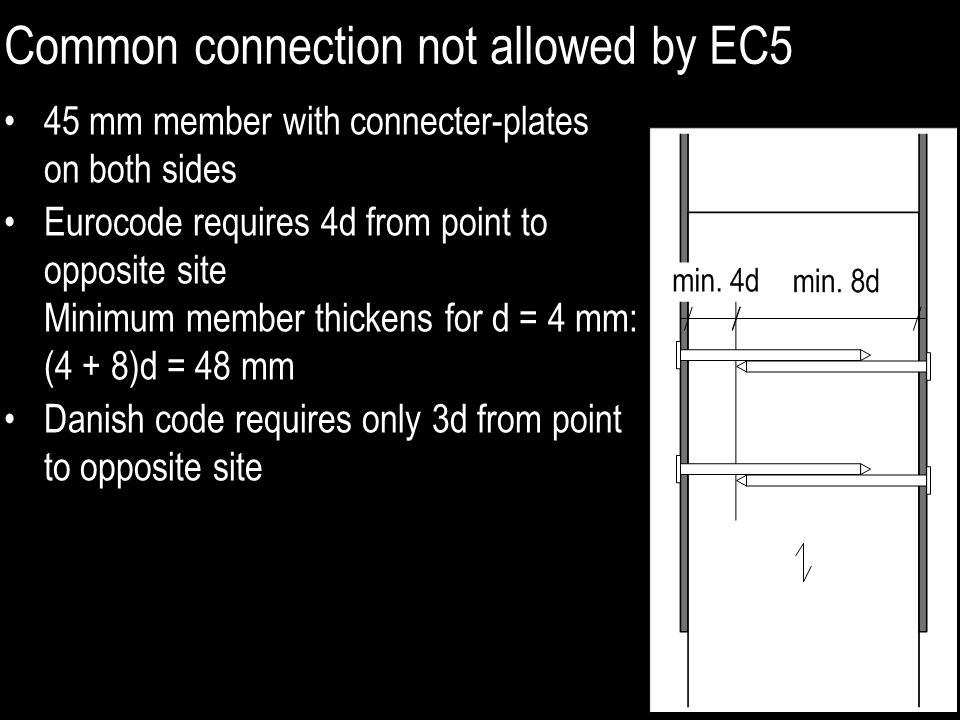 Common connection not allowed by EC5 45 mm member with connecter-plates on both sides Eurocode requires 4d from point to opposite site Minimum member