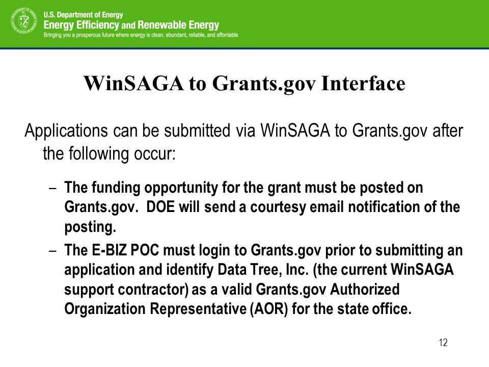 12 WinSAGA to Grants.gov Interface Applications can be submitted via WinSAGA to Grants.gov after the following occur: – The funding opportunity for the grant must be posted on Grants.gov.