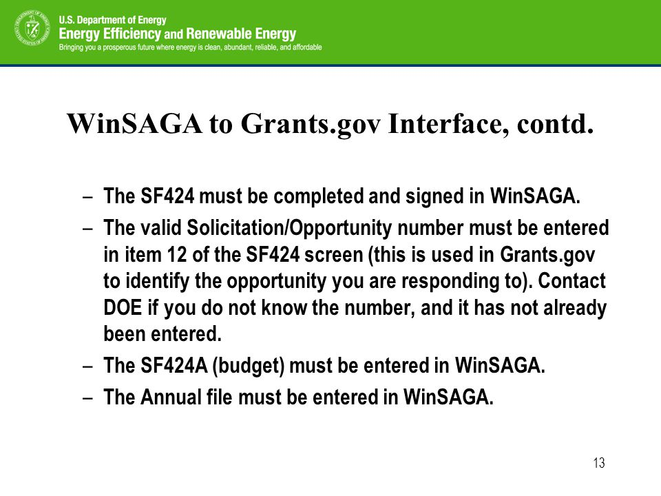 13 WinSAGA to Grants.gov Interface, contd. – The SF424 must be completed and signed in WinSAGA.