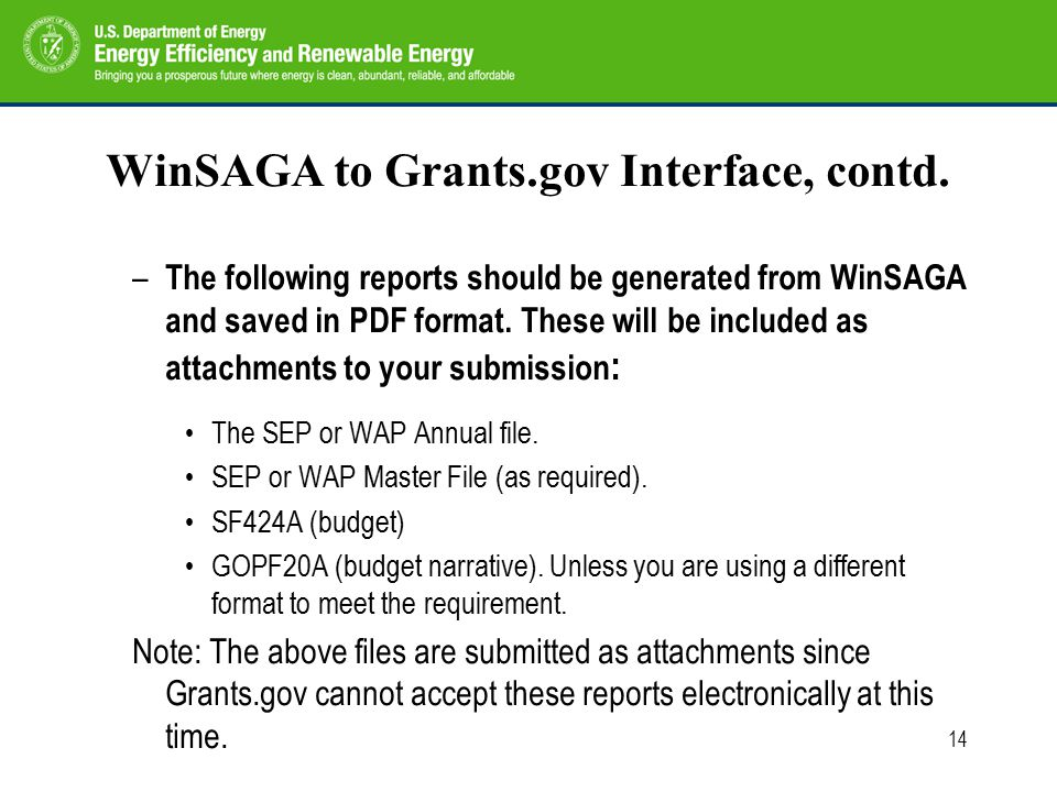 14 WinSAGA to Grants.gov Interface, contd.