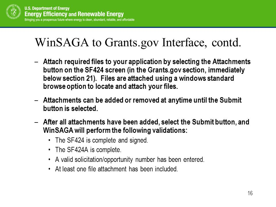 16 WinSAGA to Grants.gov Interface, contd.
