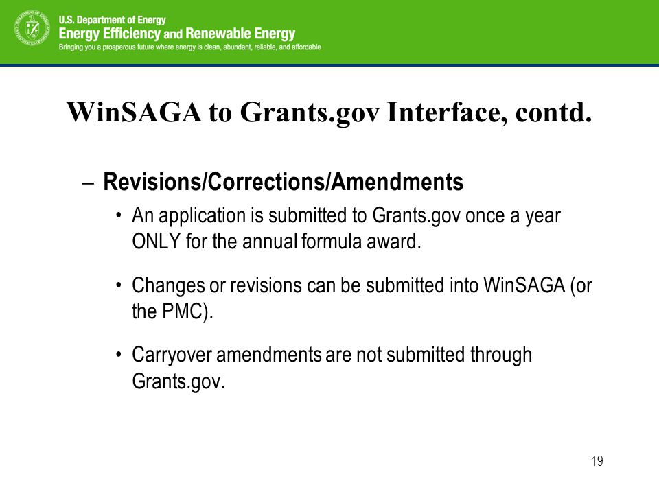 19 WinSAGA to Grants.gov Interface, contd.