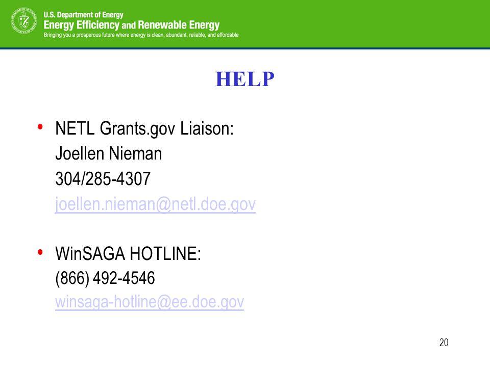 20 HELP NETL Grants.gov Liaison: Joellen Nieman 304/285-4307 joellen.nieman@netl.doe.gov WinSAGA HOTLINE: (866) 492-4546 winsaga-hotline@ee.doe.gov