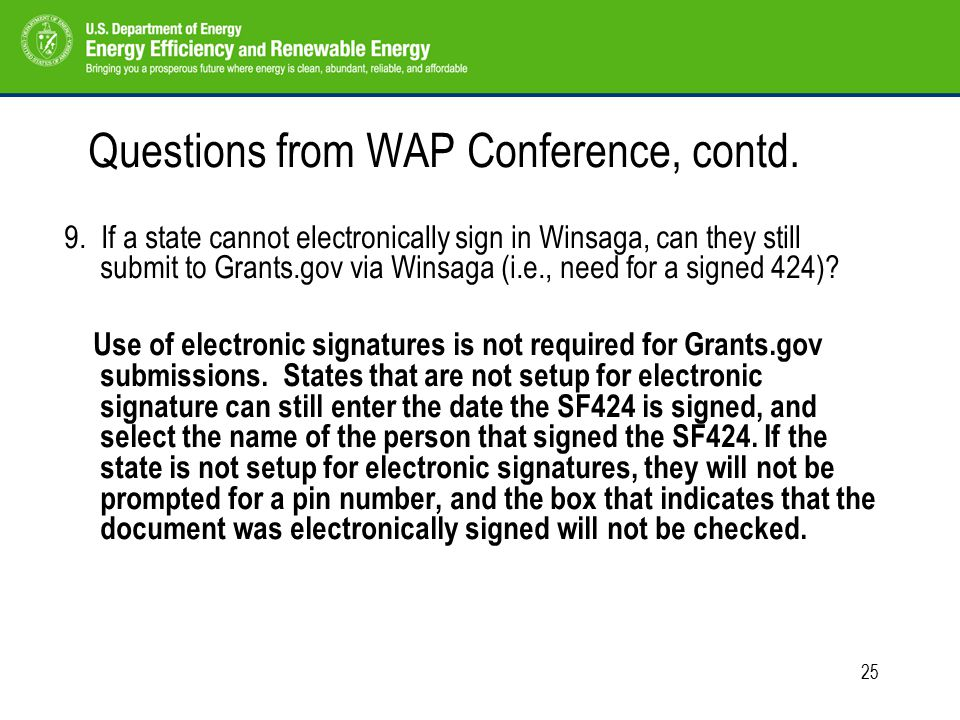 25 Questions from WAP Conference, contd. 9.