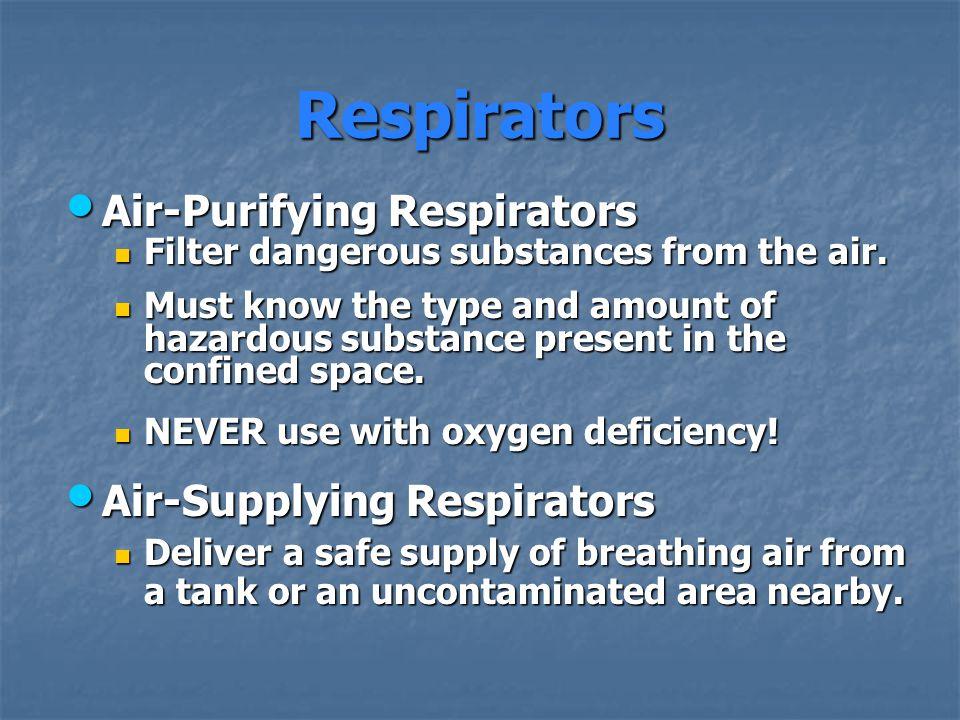 Respirators Air-Purifying Respirators Air-Purifying Respirators Filter dangerous substances from the air. Filter dangerous substances from the air. Mu