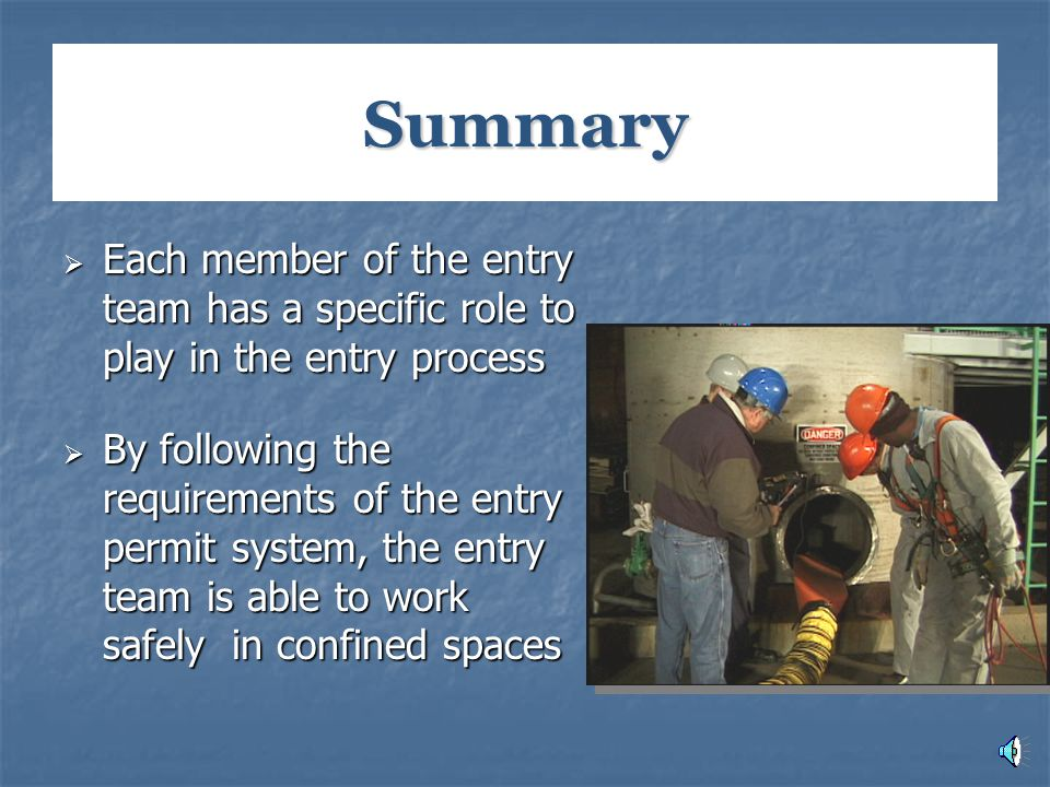 Summary  Each member of the entry team has a specific role to play in the entry process  By following the requirements of the entry permit system, t