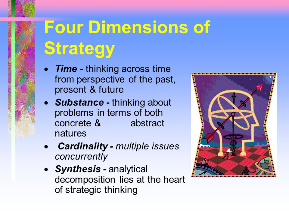 Four Dimensions of Strategy  Time - thinking across time from perspective of the past, present & future  Substance - thinking about problems in terms of both concrete & abstract natures  Cardinality - multiple issues concurrently  Synthesis - analytical decomposition lies at the heart of strategic thinking