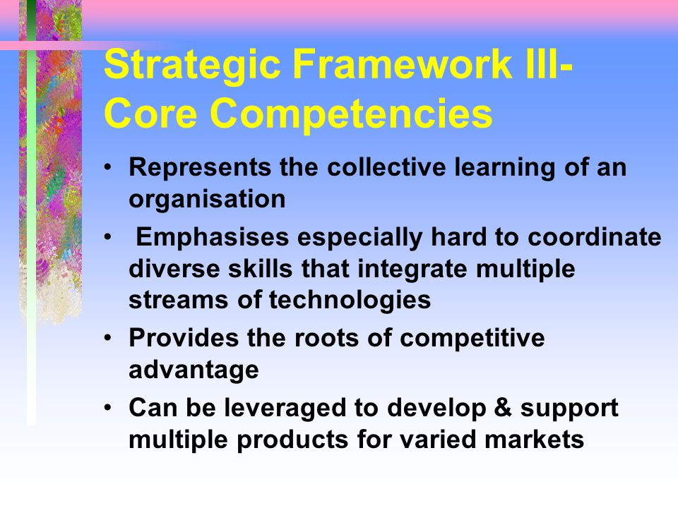 Strategic Framework III- Core Competencies Represents the collective learning of an organisation Emphasises especially hard to coordinate diverse skills that integrate multiple streams of technologies Provides the roots of competitive advantage Can be leveraged to develop & support multiple products for varied markets
