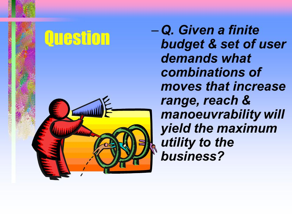Question –Q. Given a finite budget & set of user demands what combinations of moves that increase range, reach & manoeuvrability will yield the maximu