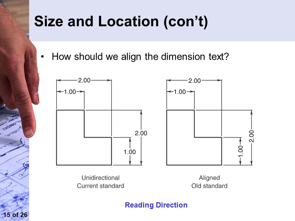 15 of 26 Size and Location (con't) Reading Direction How should we align the dimension text?
