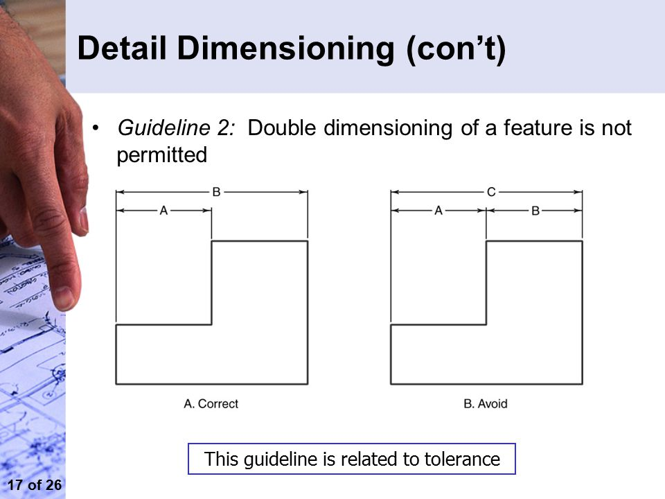 17 of 26 Detail Dimensioning (con't) Guideline 2: Double dimensioning of a feature is not permitted This guideline is related to tolerance