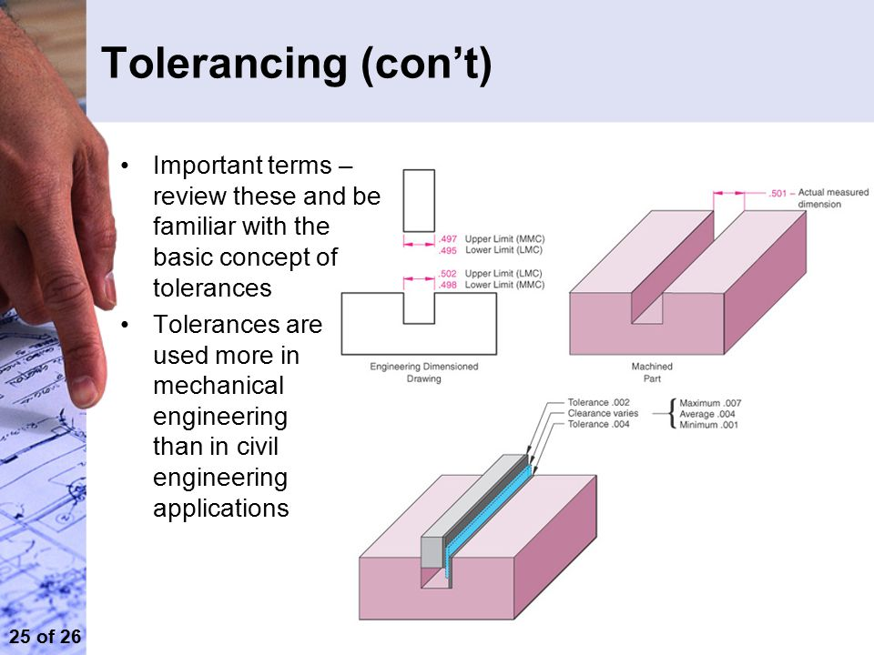 25 of 26 Tolerancing (con't) Important terms – review these and be familiar with the basic concept of tolerances Tolerances are used more in mechanical engineering than in civil engineering applications