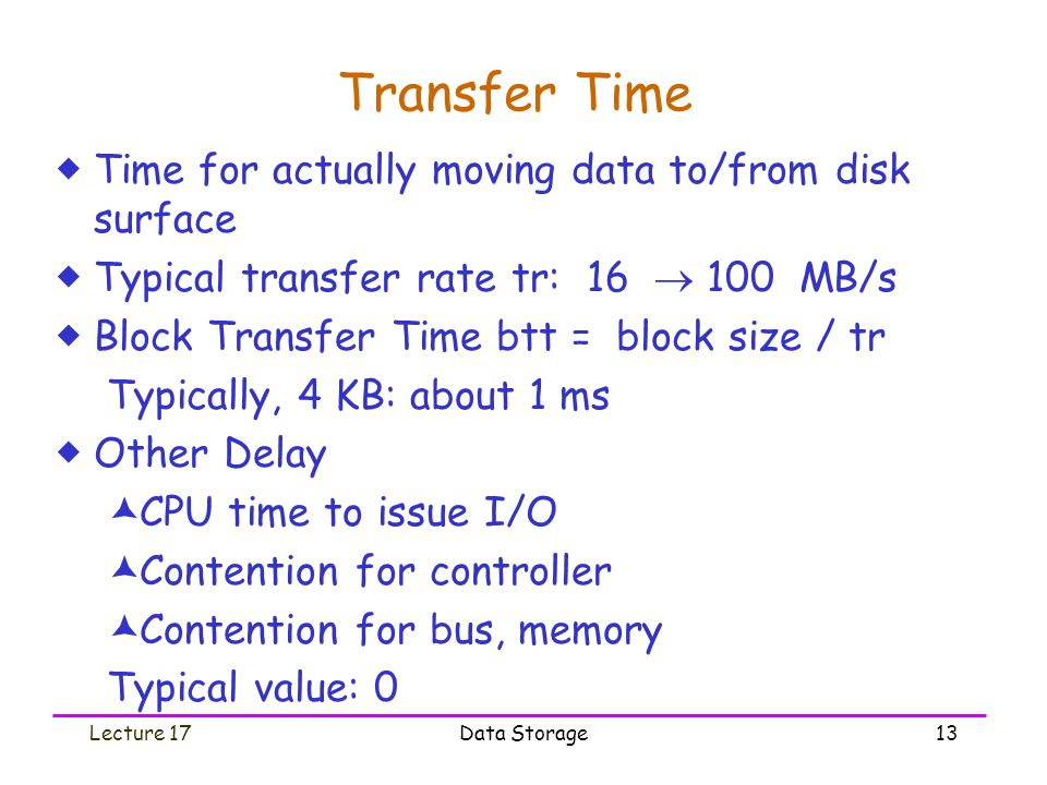 Lecture 17Data Storage13 Transfer Time  Time for actually moving data to/from disk surface  Typical transfer rate tr: 16  100 MB/s  Block Transfer Time btt = block size / tr Typically, 4 KB: about 1 ms  Other Delay  CPU time to issue I/O  Contention for controller  Contention for bus, memory Typical value: 0