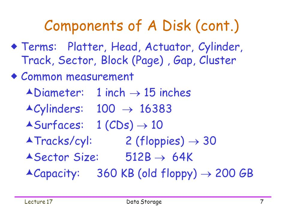 Lecture 17Data Storage7 Components of A Disk (cont.)  Terms: Platter, Head, Actuator, Cylinder, Track, Sector, Block (Page), Gap, Cluster  Common measurement  Diameter: 1 inch  15 inches  Cylinders:100  16383  Surfaces:1 (CDs)  10  Tracks/cyl: 2 (floppies)  30  Sector Size:512B  64K  Capacity:360 KB (old floppy)  200 GB