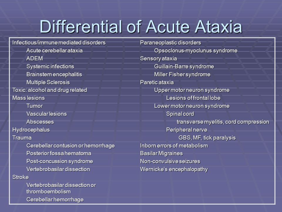 History  Recent infection, vaccination  Previous episode of ataxia  Migraine-related syndrome, seizure, IEM  Family history  Migraine syndromes, hereditary ataxias, IEM