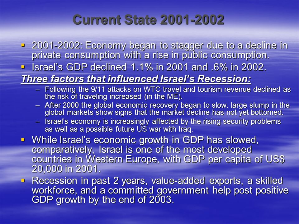 Current State 2001-2002  2001-2002: Economy began to stagger due to a decline in private consumption with a rise in public consumption.  Israel's GD