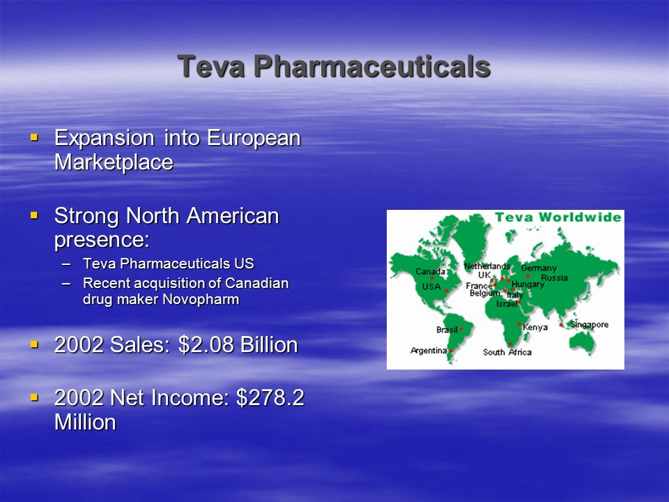 Teva Pharmaceuticals  Expansion into European Marketplace  Strong North American presence: –Teva Pharmaceuticals US –Recent acquisition of Canadian