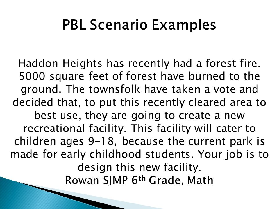 PBL Scenario Examples Haddon Heights has recently had a forest fire.