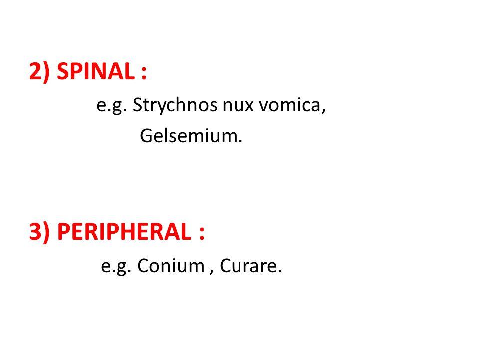 2) SPINAL : e.g. Strychnos nux vomica, Gelsemium. 3) PERIPHERAL : e.g. Conium, Curare.