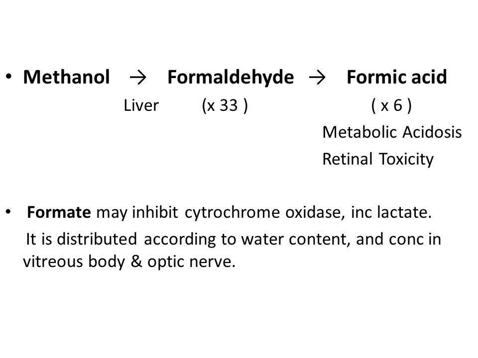 Methanol → Formaldehyde → Formic acid Liver (x 33 ) ( x 6 ) Metabolic Acidosis Retinal Toxicity Formate may inhibit cytrochrome oxidase, inc lactate.