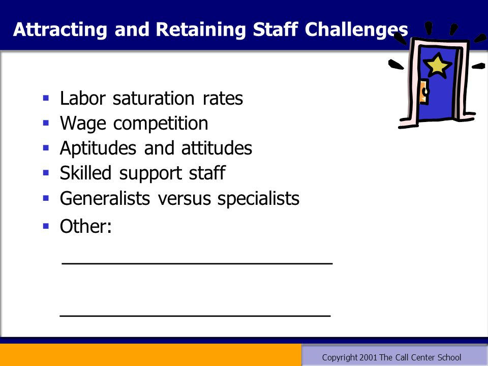 Copyright 2001 The Call Center School Attracting and Retaining Staff Challenges  Labor saturation rates  Wage competition  Aptitudes and attitudes