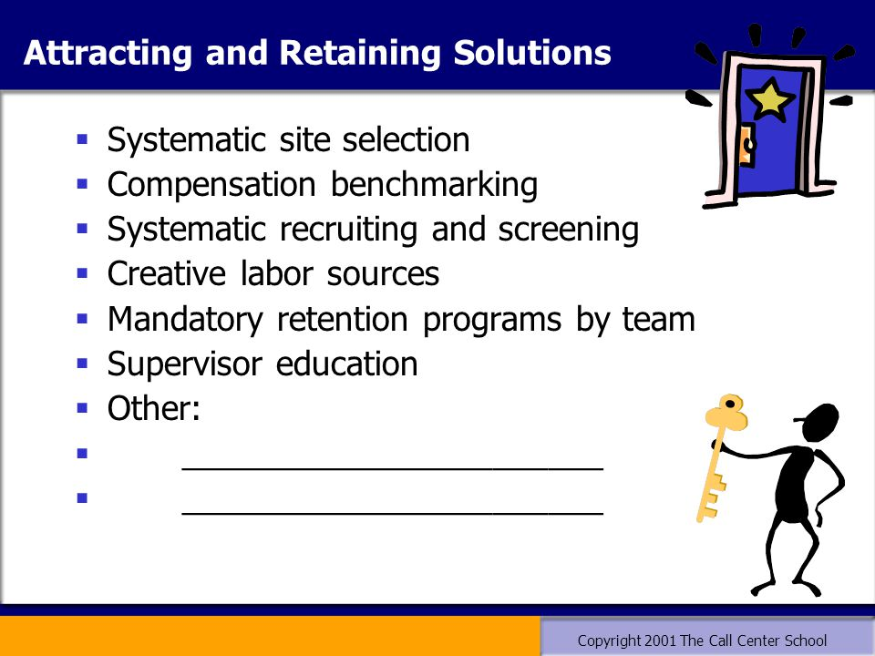 Copyright 2001 The Call Center School Attracting and Retaining Solutions  Systematic site selection  Compensation benchmarking  Systematic recruiti