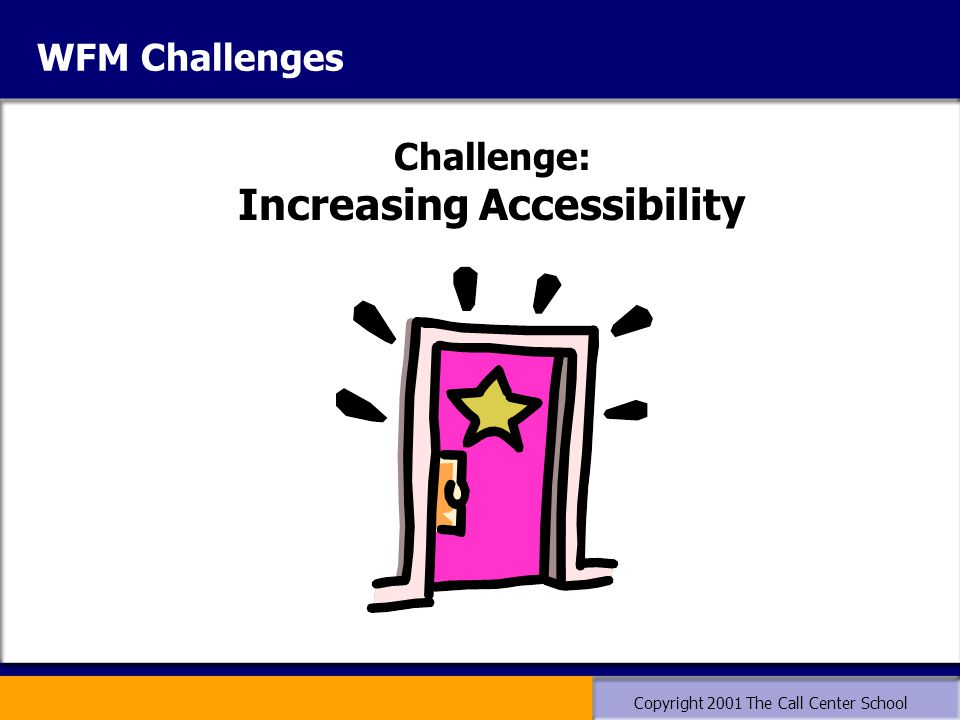 Copyright 2001 The Call Center School WFM Challenges Challenge: Increasing Accessibility