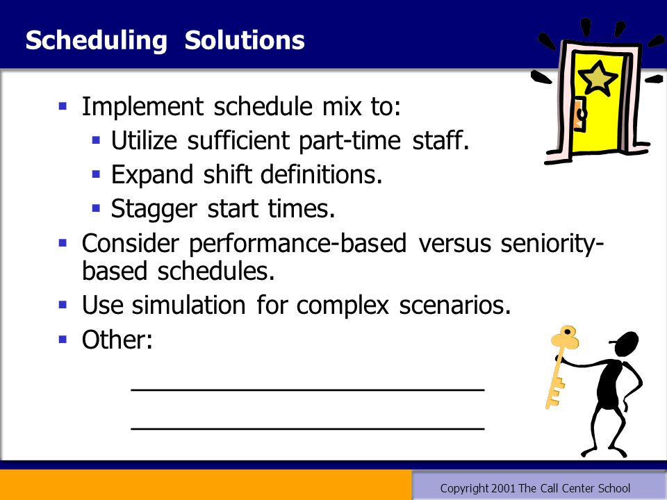 Copyright 2001 The Call Center School Scheduling Solutions  Implement schedule mix to:  Utilize sufficient part-time staff.  Expand shift definitio
