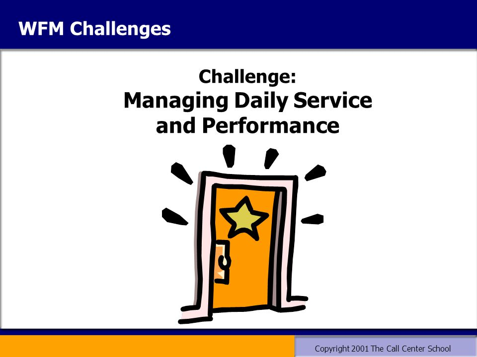 Copyright 2001 The Call Center School WFM Challenges Challenge: Managing Daily Service and Performance